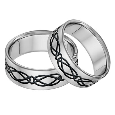 Titanium Celtic Wedding Band Set in Black