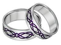 Titanium Celtic Wedding Band Set in Purple