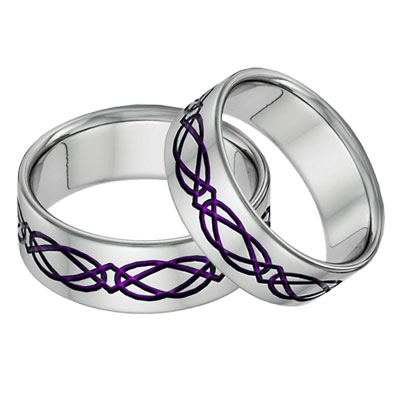 Titanium Celtic Wedding Band Set in Purple