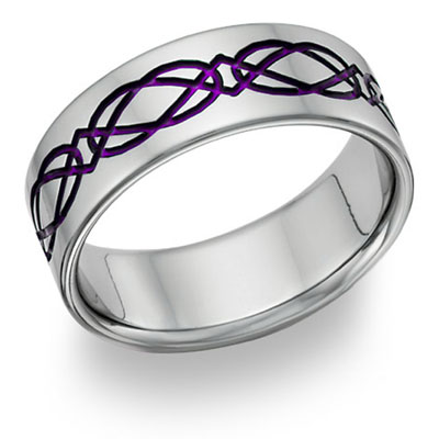 Titanium Celtic Wedding Band Ring in Purple