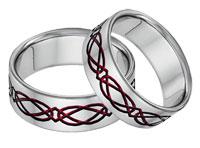 Titanium Celtic Wedding Band Set in Red