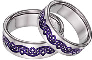 Purple Titanium Celtic Heart Wedding Band Set