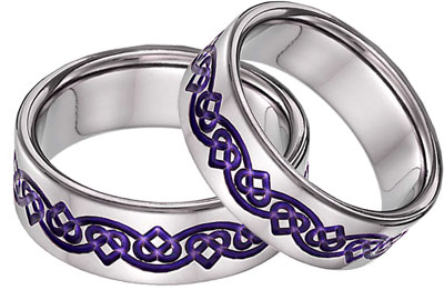 Purple Titanium Celtic Heart Wedding Band Set for women and men