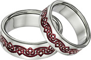 Red Titanium Celtic Heart Weddkng Band Set