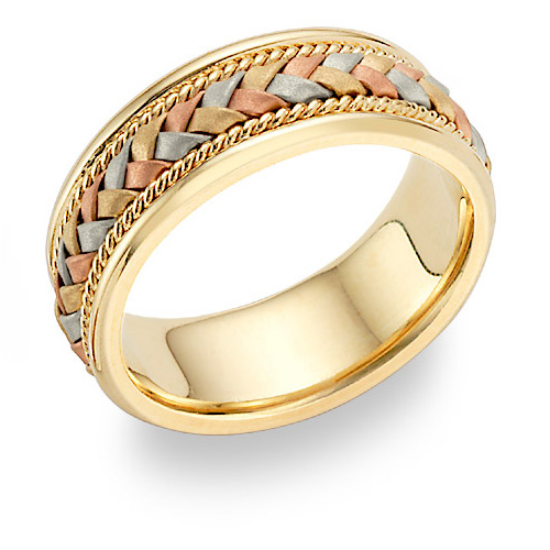 Tri Color Gold Braided Wedding Band Ring