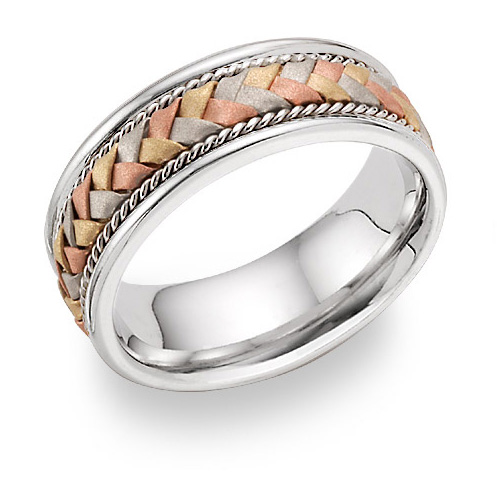 Tri-Color Braided Wedding Band in 18K White Gold