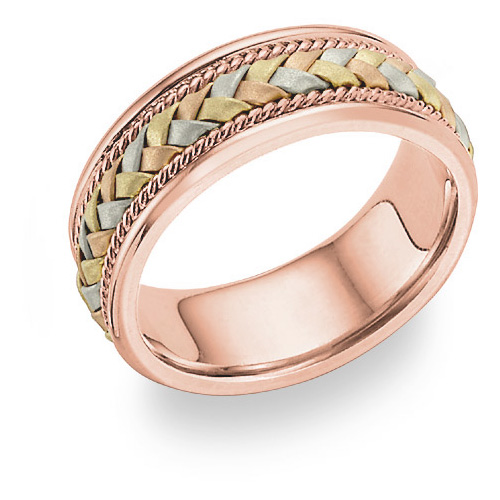 Tri-Color Rose Gold Braided Wedding Band Ring