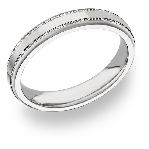 14K White Gold 4mm Wedding Band Ring