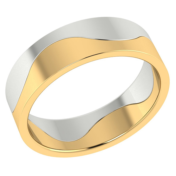Two-Halves One Flesh Wedding Band Ring, 14K Two-Tone Gold