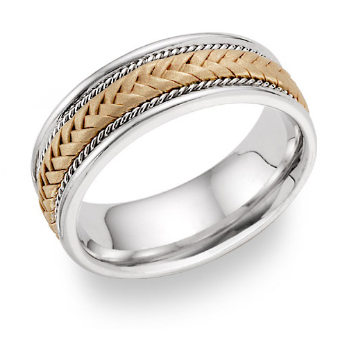 Braided Wedding Band - 14K Two-Tone Gold