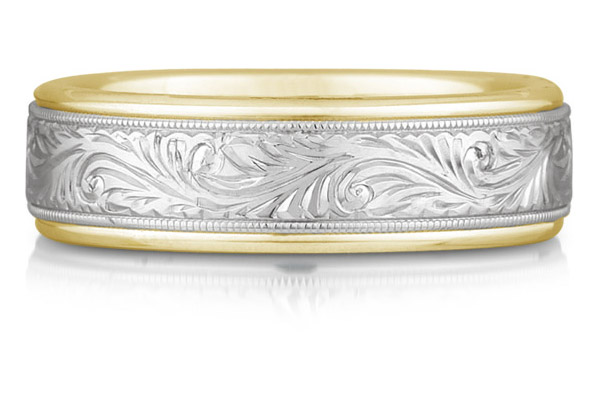 Engraved Paisley Wedding Band, 14K Two-Tone Gold
