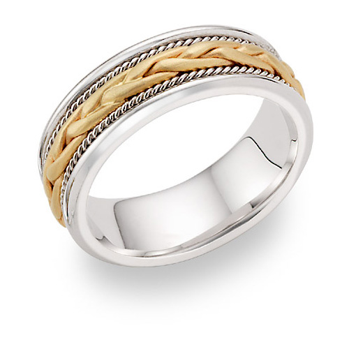 Braided Wedding Band Ring - 14K Two-Tone Gold