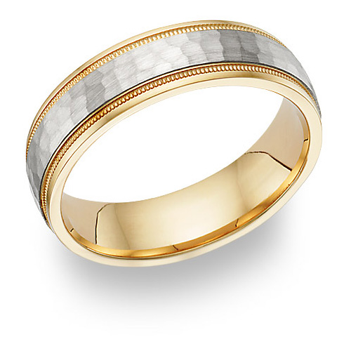 18K Two-Tone Gold Hammered Wedding Band