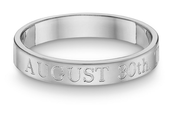 Personalized Wedding Date Ring, 14K White Gold
