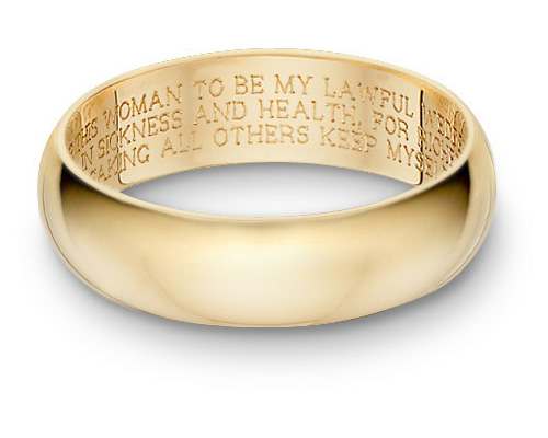 Wedding Vow Wedding Band Ring, 14K Gold