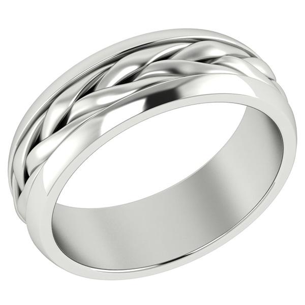 14K White Gold Wide Braided Wedding Band Ring