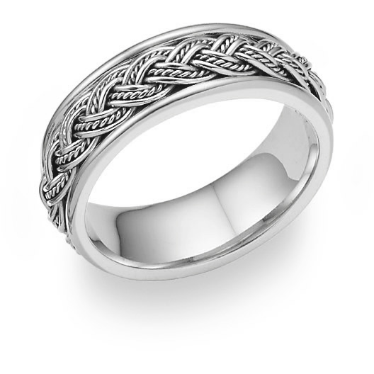 Hand-Woven Wedding Band Ring in 18K White Gold