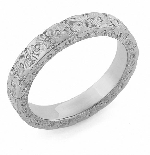 Hand-Carved Flower Wedding Ring, 14K White Gold