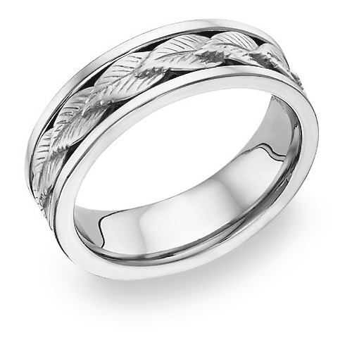 14K White Gold Leaf Design Wedding Band Ring