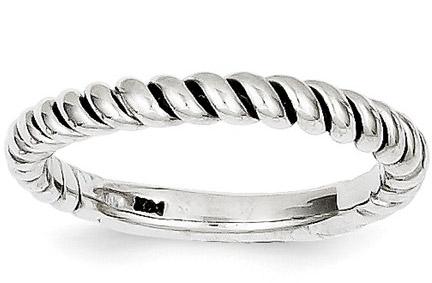 Polished Twist Wedding Band Ring, 14K White Gold