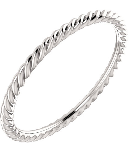 Skinny Rope Band in 14K White Gold