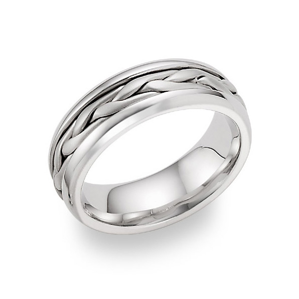 14k white gold wide braided wedding band - White Gold Wedding Rings