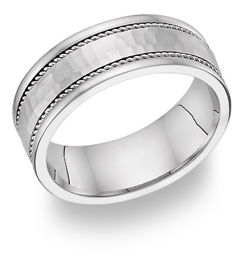 Hammered Platinum Wedding Band
