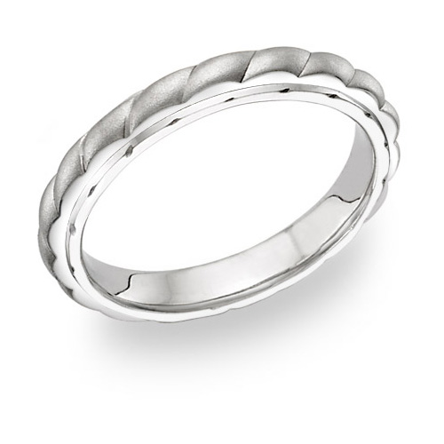 Women's Platinum Design Brushed Wedding Band