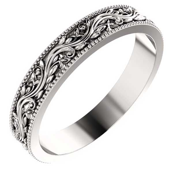 Women's Sculpted Paisley Wedding Band Ring, 14K White Gold