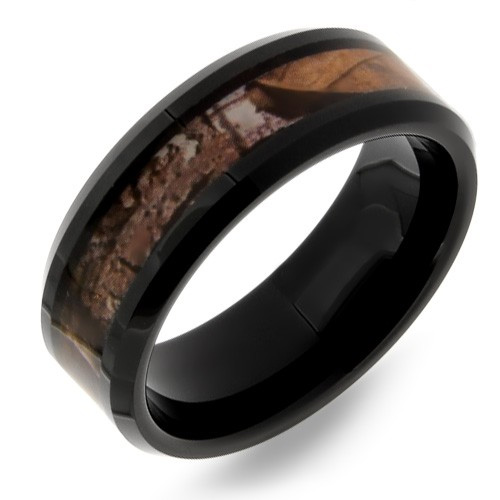Black Woodlands Camo Tungsten Wedding Band Ring for Men