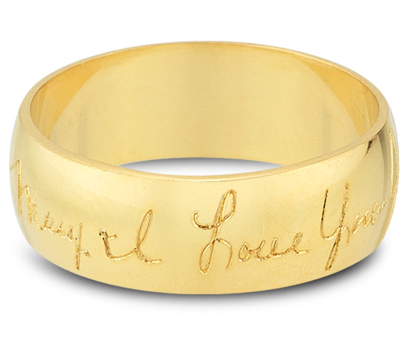 Your Handwriting Wedding Band Ring in 14K Gold