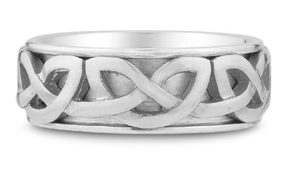 Cyric Celtic Wedding Band, 14K White Gold