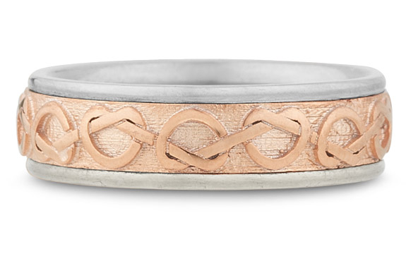 Celtic Heart Knot Wedding Band, 14K White and Rose Gold