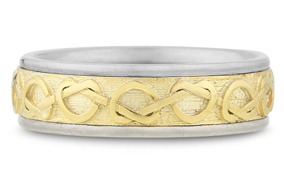 Celtic Heart Knot Wedding Band, 14K Two-tone Gold