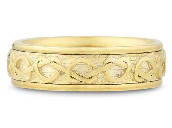 Celtic Heart Knot Wedding Band, 14K Yellow Gold