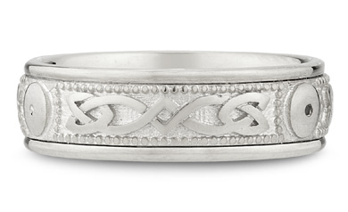 14K White Gold Celtic Shield Wedding Band