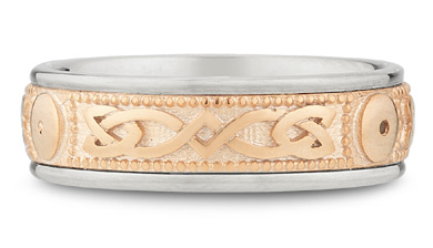 14K White and Rose Gold Celtic Shield Wedding Band
