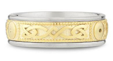 14K Two-tone Gold Celtic Shield Wedding Band