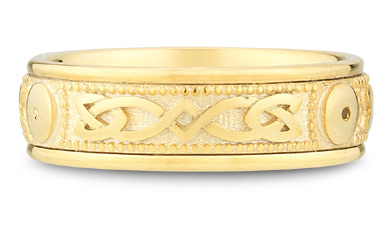 14K Yellow Gold Celtic Shield Wedding Band