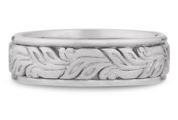 Modern Paisley Wedding Band in 18K White Gold