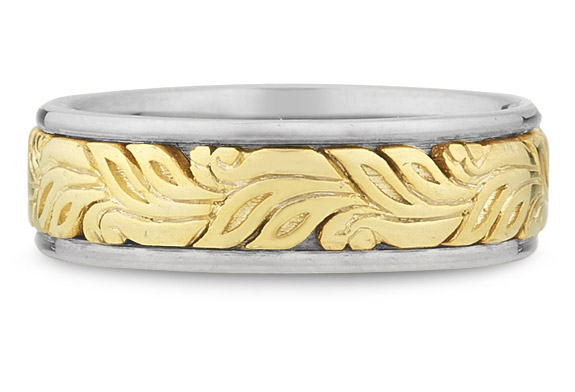 Modern Paisley Wedding Band in 18K Two-Tone Gold (Wedding Rings, Apples of Gold)