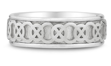 14K White Gold Celtic Knot Wedding Band
