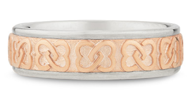 14K White and Rose Gold Celtic Knot Wedding Band