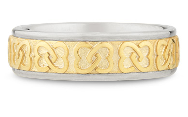 14K Two-Tone Gold Celtic Knot Wedding Band