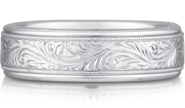Titanium and 14K White Gold Paisley Engraved Band