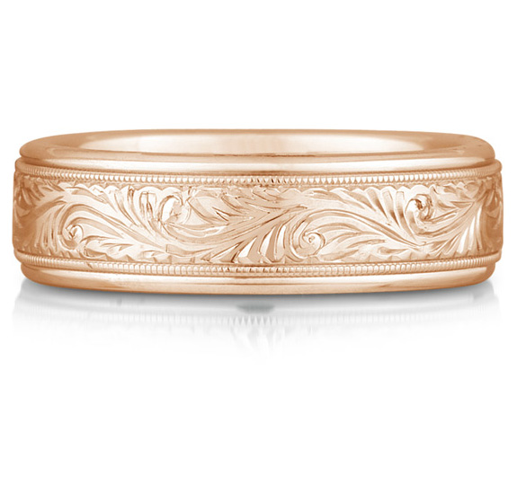 Buy Paisley Engraved Wedding Band in 18K Rose Gold