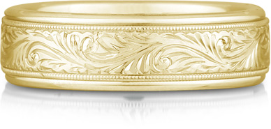 Engraved Paisley Wedding Band, 14K Yellow Gold