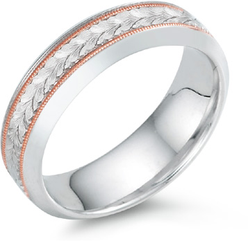 Leaf Engraved Wedding Band, 14K White and Rose Gold