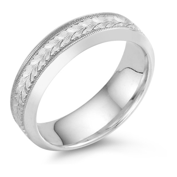 Leaf Engraved Wedding Band, 18K White Gold