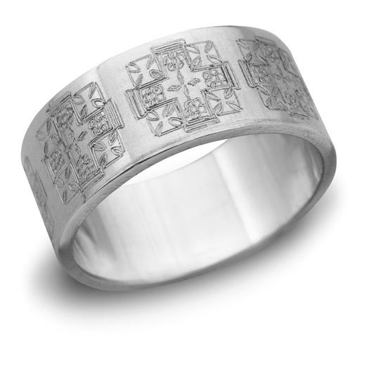 Jerusalem Cross Wedding Band, 14K White Gold